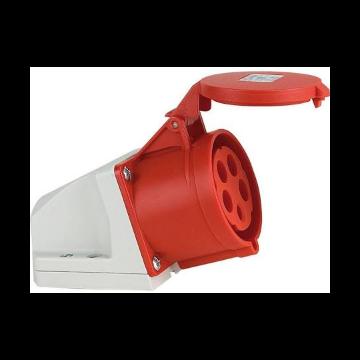 ABL Serum wandcontactdoos CEE 400V 5-polig-32A met barcodelabel rood