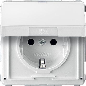 Schneider Electric Merten Aquadesign wandcontactdoos inbouw enkel randaarde met klep, wit