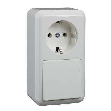 Schneider Electric Merten Contura opbouw combinatie randaarde inclusief montageplaat, wit