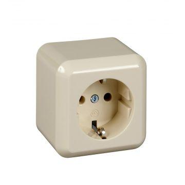 Schneider Electric Merten Contura opbouw wandcontactdoos enkel randaarde inclusief montageplaat, wit