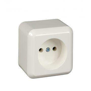 Schneider Electric Merten Contura opbouw wandcontactdoos enkel inclusief montageplaat, wit