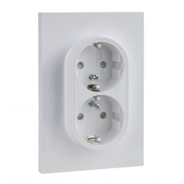 Schneider Electric Odace dubbele wandcontactdoos met randaarde 16A, wit