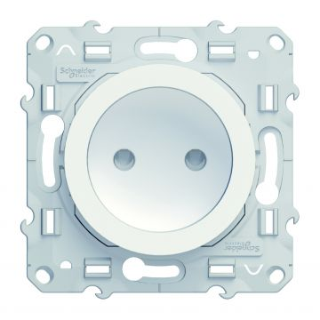 Schneider Electric Odace wandcontactdoos zonder randaarde 16A, wit