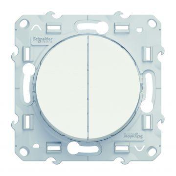Schneider Electric Odace dubbele enkelpolige schakelaar 10A, wit