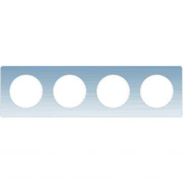 Schneider Electric Odace Touch afdekraam 4-voudig, geborsteld aluminium