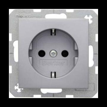 Hager berker B.1/B.3/B.7 wandcontactdoos inbouw enkel randaarde, aluminium