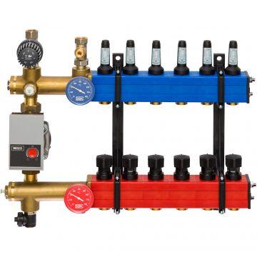 Komfort SBK 4801 verdeler vloerverwarming bovenaansluiting met energiezuinige A-label pomp 7-groeps