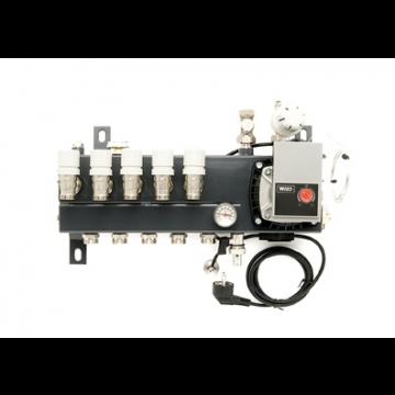VTE Slim verdeler vloerverwarming bovenaansluiting met energiezuinige A-label pomp 6-groeps