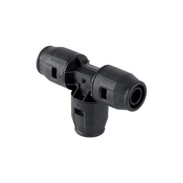 Geberit PushFit systeemfitting met 3 aansluitingen, PVDF, T-stuk, 16 mm 16 mm 16 mm, zwart