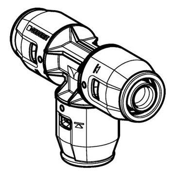 Geberit PushFit T-stuk verlopend PDF 20x16x20mm 651311001