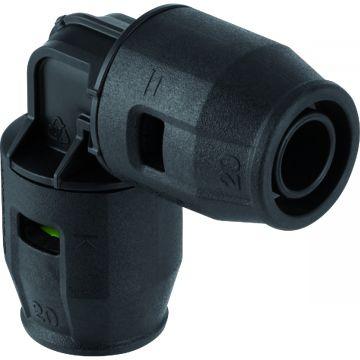 Geberit PushFit bocht 90° 20 mm, PVDF
