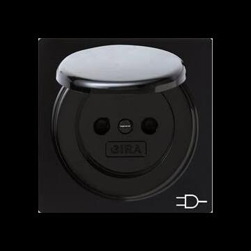 Gira S-Color kunststof wandcontactdoos met randaarde en klapdeksel, zwart