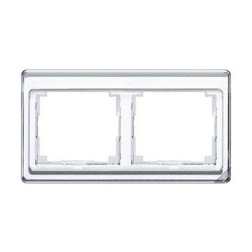 JUNG SL500 afdekraam glas, zilver, (bxhxd) 156x85x9.5mm