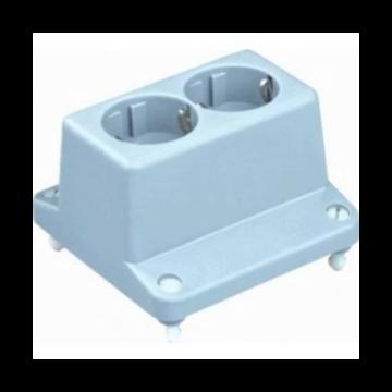 ABB hafobox deksel met 2-voudig wandcontactdoos met randaarde voor kabeldoos 3640 rechthoekig 105x105x40mm, grijs