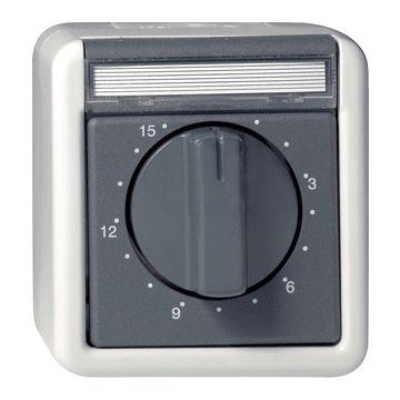 Gira opbouw tijdschakelaar spatwaterdicht 2-polig max. insteltijd 15 minuten, grijs