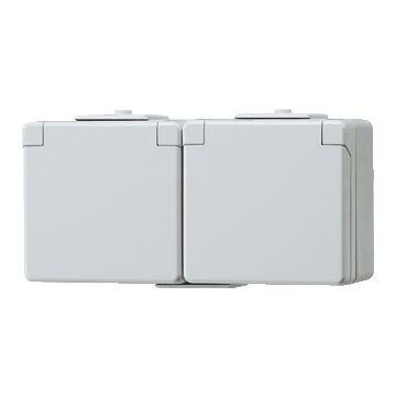 JUNG WG600 wandcontactdoos kunststof, grijs, uitvoering ra, 2 eenheden