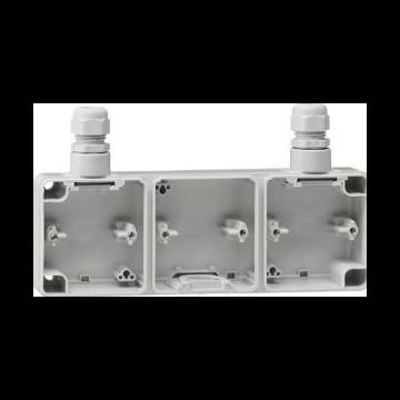 Gira opbouw onderstuk 3-voudig met 2 x M20, grijs