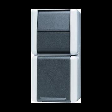 JUNG WG800 comb schakelaar/wandcontactdoos kunststof, grijs, uitvoering schakelaar wiss schakelaar
