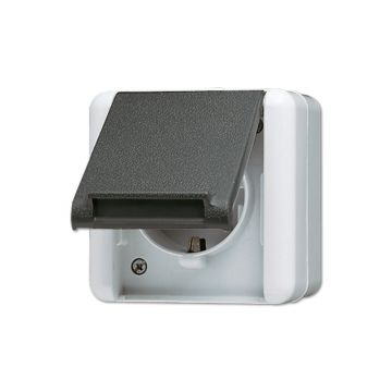 JUNG WG800 wandcontactdoos opbouw randaarde, grijs