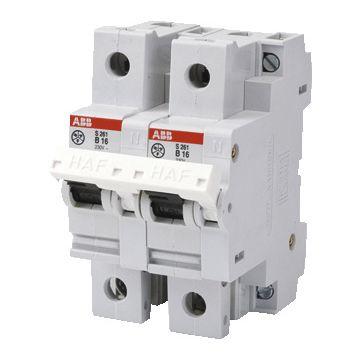 ABB installatieautomaat 2 Hafonorm, meeschakelende nul, 2 polen (totaal), kar B