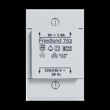 Friedland beltransformator, 91x53x38mm, prim 230V, sec 1 8V