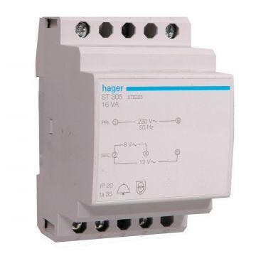 Hager beltransformator ST, 64x70x85mm, prim 230V, sec 1 8V, sec 2 12V