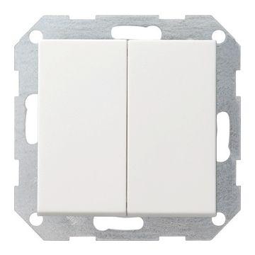 Gira System 55 2-voudig kunststof inbouw drukvlakschakelaar serie schakelaar mat, wit