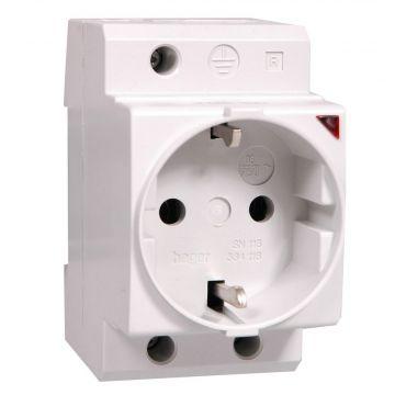 Hager 1-voudig kunststof wandcontactdoos met randaarde met indicatielamp voor din-rail (DRA), grijs