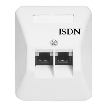 Ackermann isdn aansluitingdoos, wit RAL1013, aansluitingdoos ISDN wandcontactdoos, opbouw