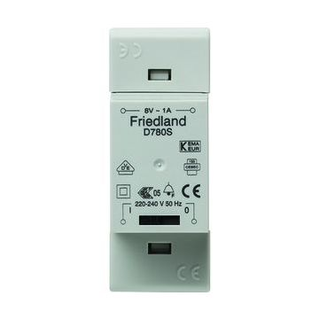 Friedland beltransformator, 91x35x53mm, prim 230V, sec 1 8V, sec 3 8V