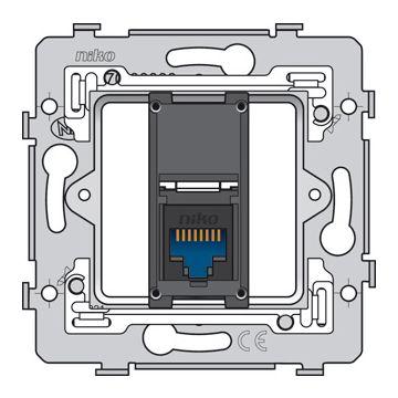 Niko 1 RJ45-aansluiting UTP cat. 6, vlakke uitvoering, incl. inbouwraam met schroefbevestiging