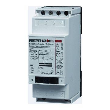 Grothe beltransformator, 90x36x55mm, prim 230V, sec 1 8V, sec 2 12V