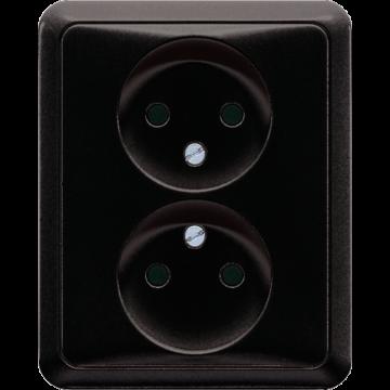 JUNG CD500 wandcontactdoos kunststof, zwart, uitvoering z/beschermingscontac