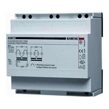 Grothe beltransformator, 90x90x55mm, prim 230V, sec 1 12V, sec 2 24V