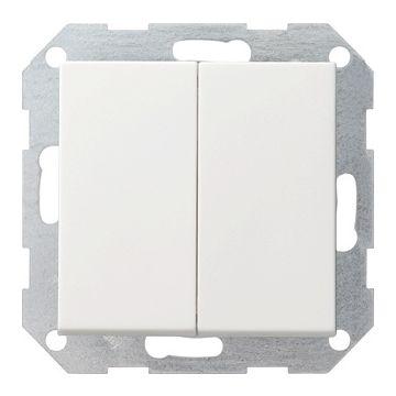 Gira System 55 2-voudig kunststof inbouw drukvlakschakelaar 2x wissel schakelaar mat, wit