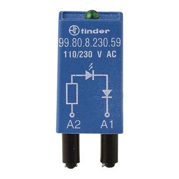 Finder netontstoorfilter insteek module 55, stuursp AC/DC, met LED ind