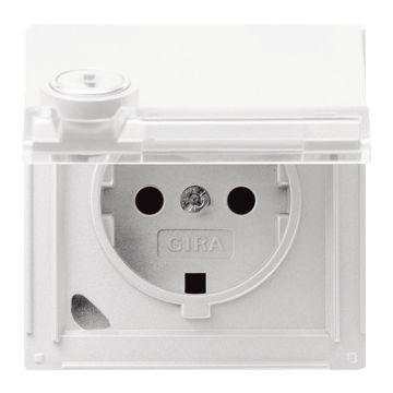 Gira TX44 kunststof wandcontactdoos met randaarde, klapdeksel en tekstvlak, wit (inclusief slot)