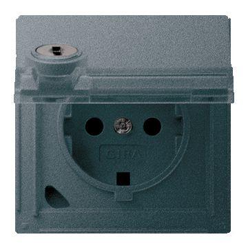 Gira TX44 kunststof wandcontactdoos met randaarde, klapdeksel en tekstvlak, antraciet (inclusief slot)