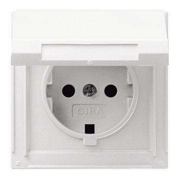 Gira TX44 kunststof wandcontactdoos met randaarde en klapdeksel, wit