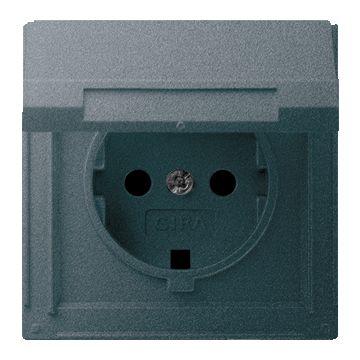 Gira TX44 kunststof wandcontactdoos met randaarde en klapdeksel, antraciet