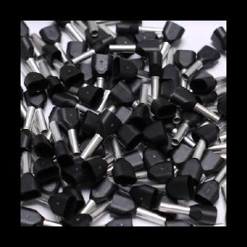 Weidmüller adereindhuls, messing, zwart, bouwvorm tweeling-adereindhuls