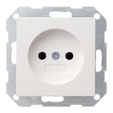 Gira Standaard 55 enkelvoudige inbouw wandcontactdoos zonder randaarde, wit
