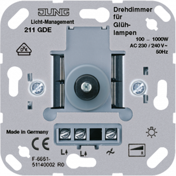 JUNG dimmer Lichtmanagement, basiselement, draai/drukknop bel ohmse bel