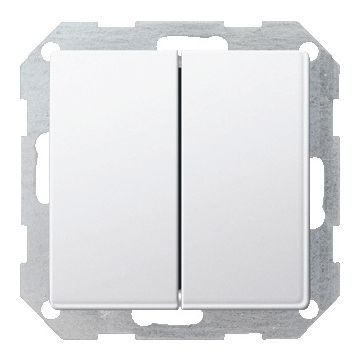 Gira E22 2-voudig inbouw metaal drukvlakschakelaar 2x wissel schakelaar, wit (RAL9010)