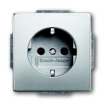 Busch-Jaeger Pure Stainless Steel wandcontactdoos met randaarde aanraakbeveiliging, edelstaal