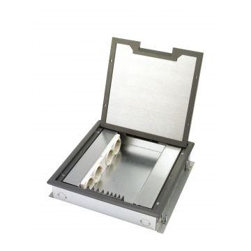 OCS vloercontactdoos Velox 2.0 50, staal, grijs/zilver, deksel vierkant
