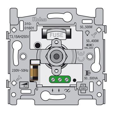 Niko dimmer Electronica, metaal, basiselement, draai/drukknop inbouw, hal voorij