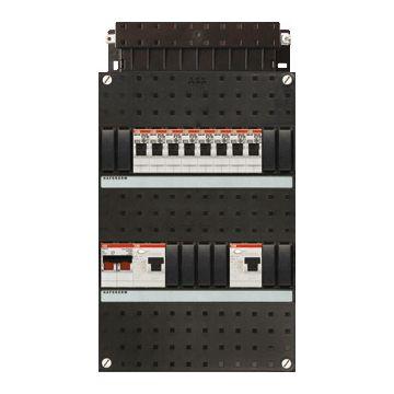 ABB Hafonorm HAD installatiekast, 1 fase, 8 groepen achter 2 aardlekschakelaars(30mA), met 2 polen hoofdschakelaar, (hxbxd) 330x220x90mm