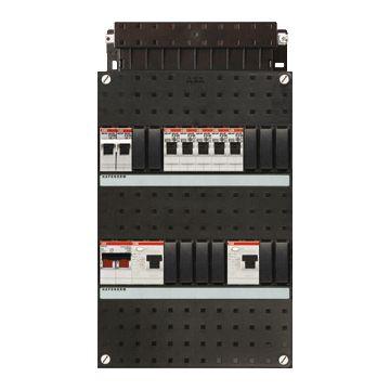ABB Hafonorm HAD installatiekast, 1 fase, 6 groepen achter 2 aardlekschakelaars(30mA), met 1-fase fornuisgroep, met 2 polen hoofdschakelaar, (hxbxd) 330x220x90mm