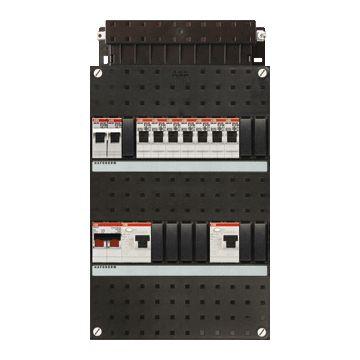 ABB Hafonorm HAD installatiekast, 1 fase, 8 groepen achter 2 aardlekschakelaars(30mA), met 1-fase fornuisgroep, met 2 polen hoofdschakelaar, (hxbxd) 330x220x90mm
